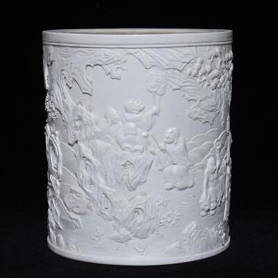 China Exquisite Handmade white glaze carved Eighteen luohan porcelain Brush pot
