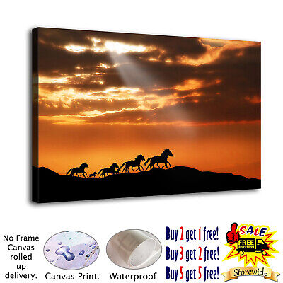 Six running horses HD Canvas prints Painting Home decor Picture Room Wall art