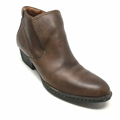 6b2557fab41a Women s Born W82113 Booties Ankle Boots Shoes Size 10M Brown Leather Slip  On A2