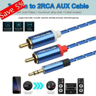 5M REXLIS 3.5mm Jack Male to 2 RCA Male Phono Stereo Audio Aux Cord Cable
