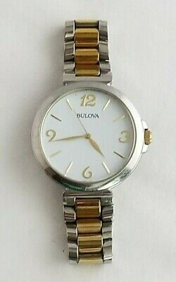 Bulova 98L194 Women's Round Analog White Gold Silver Tone Stainless Steel Watch