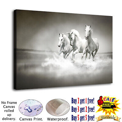 Three horses and water splash HD Canvas print Picture Home decor Room Wall art