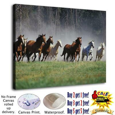 Nine horses running on the grassland HD Canvas print Home decor Room Wall art