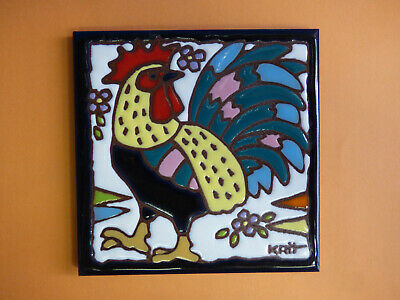"Ceramic Art Tile 6""x6"" Colorful Handpainted Rooster Kitchen Trivet Wall NEW M31"