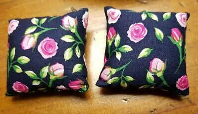 Miniature dolls house accessories 2 Navy Floral Cushions 1::12th scale size