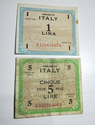 Italy 2 old WWII Allied Military Currency paper banknotes 1 Lira & 5 Lire 1943