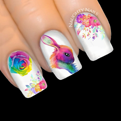RAINBOW DREAM BUNNY Easter Nail Water Transfer Decal Sticker Art Slider