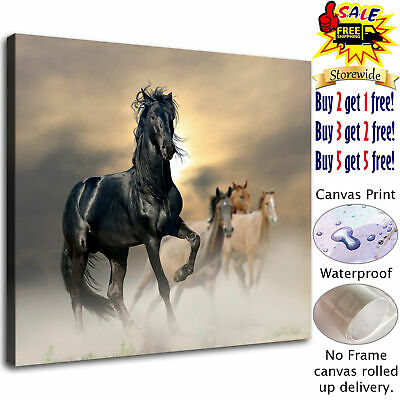 Four horses and fog HD Canvas print Painting Home decor Room Wall art wallpaper