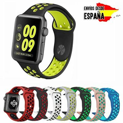 Pulsera Correa Sport Deportiva Silicona Colores Compatible Apple Watch 1 2 3 Y 4
