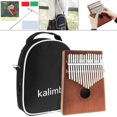 17 Key Kalimba Single Board Mahogany Thumb Piano Mbira Mini Keyboard w/ Bag