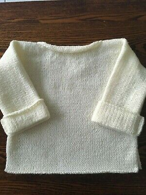 Hand Knitted  T Top Jumper- 24 Months -Cream Colour- 100% Wool- New