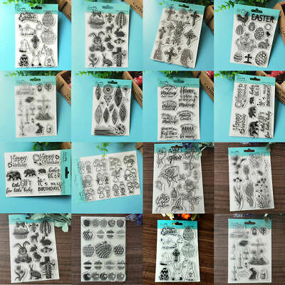 Happy Easter Transparent Silicone Clear Rubber Stamp Sheet Cling Scrapbook Card