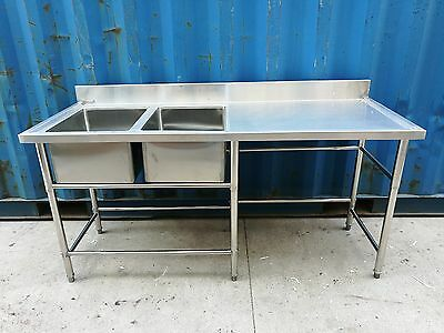 Brand New Commercial Stainless Steel Double Sink 180x70x90 cm