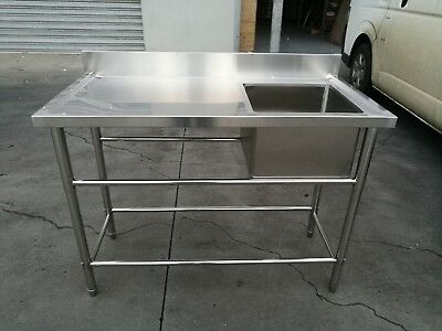 Brand New Commercial Stainless Steel Single Sink 1200x600x900x100 mm