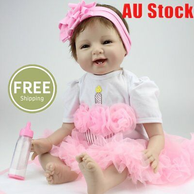 22'' Handmade Silicone Lifelike Reborn Baby Dolls Girl  With Toy And Bottle E1