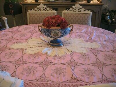 Amazing Big Handmade Sunflower Filet Crochet Lace Vintage Table Runner