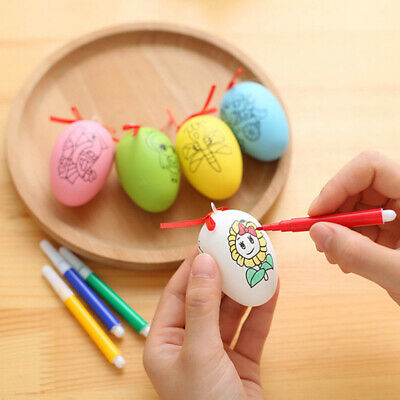 Fashion Color Plastic Simulation Easter Egg Shell w/Brush DIY Party Decor -SL83