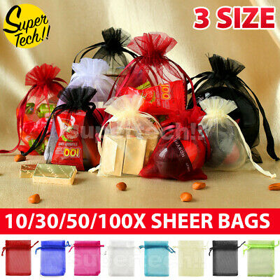 10-100Pcs 3 Size Organza Bag Sheer Bags Wedding Candy Party Easter Egg Gift Bags
