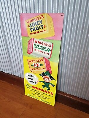 Wrigleys Chewing Gum metal tin sign PK Juicy fruit Chewy Retro old advertising