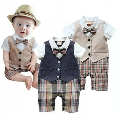 Infant Baby Boy Kid Newborn Formal Jumpsuit Romper Bodysuit Gentleman Set Outfit