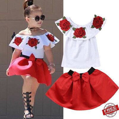 2pcs Baby Girl Kids Off Shoulder 3D Flower Blouse Top Dress Skirt Outfit Clothes
