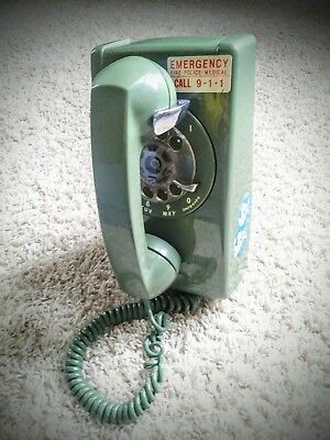 Vintage 70's Western Electric Bell Green Rotary Wall Mount Telephone A/B 554