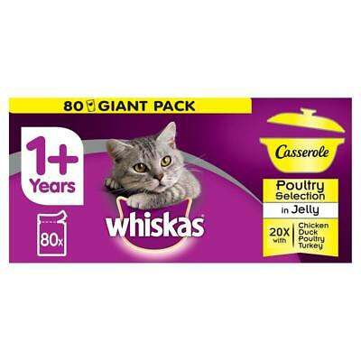 80 x 85g Whiskas Casserole 1+ Adult Wet Cat Food Pouches Poultry in Jelly