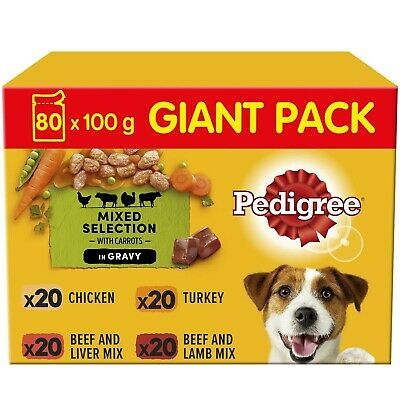 Pedigree Adult Wet Dog Food Pouches Mixed Selection in Gravy 80x100g Pouches