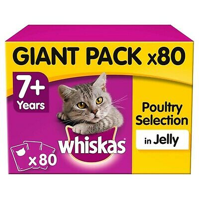 Whiskas 7+ Senior Wet Cat Food Pouches Poultry Selection Jelly 80x100g Pouches