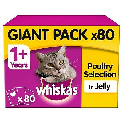 Whiskas 1+ Adult Wet Cat Food Pouches Poultry Selection Jelly 80x100g Pouches
