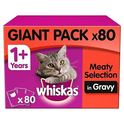Whiskas 1+ Adult Wet Cat Food Pouches Meat Selection In Gravy 80x100g Pouches