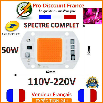LED COB 50W BLANC FROID 4000 Lumens 220V Smart IC Driver Direct Power Chip