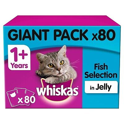 80 x 100g Whiskas 1+ Adult Wet Cat Food Pouches Mixed Fish In Jelly