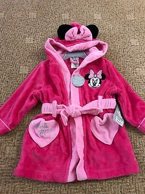 Disney Minnie Mouse girl dressing gown Size 2 Up To 92cm Pink