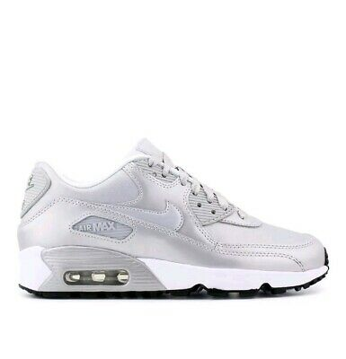 b105c21bc5068 Nike Air Max 90 SE LTR GS LTR Ladies Girls Trainers Silver White UK Size 5