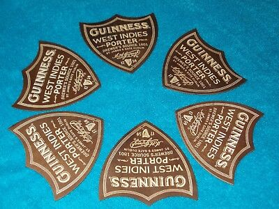 """GUINNESS """"WEST INDIES PORTER"""" SHIELD PLYWOOD BEER MATS X 6 Ltd Edition"""