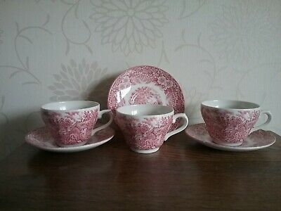 3 cups and saucers Constable Series Bicentenial 1776-1976 Broadhurst Ironston