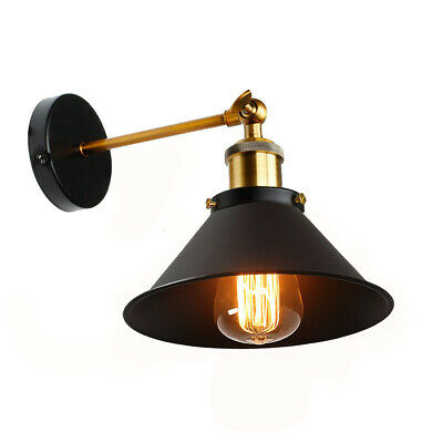 Industrial Retro Vintage Style Adjustable Wall Light Black Sconce Lampshade