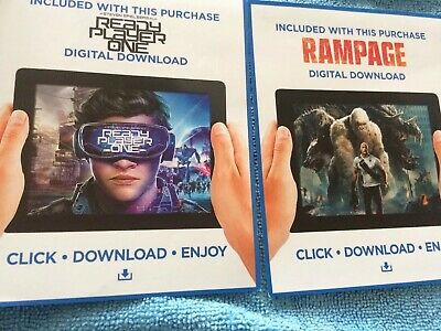 Ready Player One And Rampage CODES From Blu Rays Please See Description