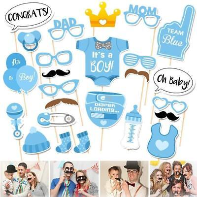 25pcs Baby Shower Booth Props Little Boy Mister New Born Party Decoration UHUTR