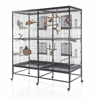 New Large Indoor Aviary Bird Cage On Wheels Parrot Cockatiel Budgie Finch