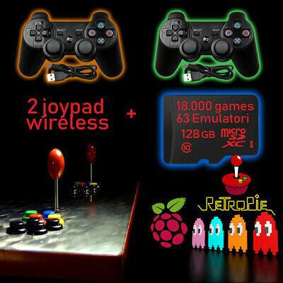 RETROGAMES 128GB PER RASPBERRY pi 3b / 3b+ RETROPIE 4.4.8 + 2 JOYSTICK WIRELESS
