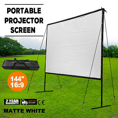 Manual Projector Screen with Auto Lock Pull Down Projection 144-inch 16:9 Ratio