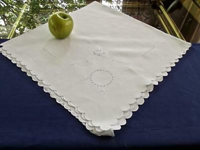 "Vintage Madeira Embroidered Scrolls White Linen 34"" Sq Tea Tablecloth Topper"