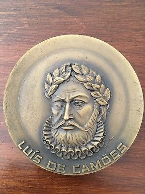 Beautiful rare antique bronze medal dedicated to Luís de Camões