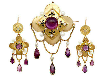 Antique French 11.54 Ct Amethyst Pearl 18k Yellow Gold Jewellery Suite