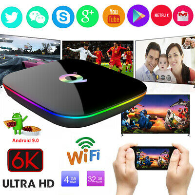 Q plus 6K 4G+32G Android 9.0 Smart TV BOX Quad Core HDMI2.0 WIFI MINIPC Streamer