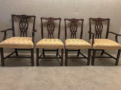 Set of 4 Chippendale Dining Room Chairs Newly Upholstered & Restored