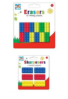 18 Novelty Pencil Erasers 6 Sharpeners Lego Shape Brick Rubbers Party Fillers