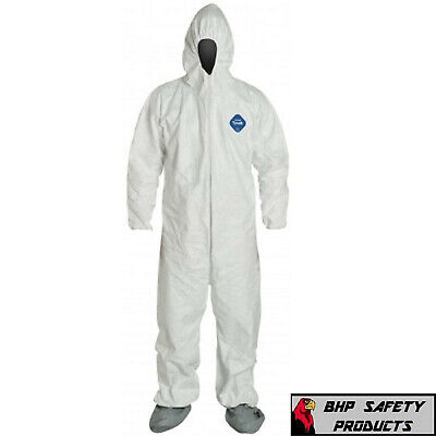 Dupont Ty122S White Tyvek Coverall Bunny Suit Hood & Boots, Sizes M-5Xl